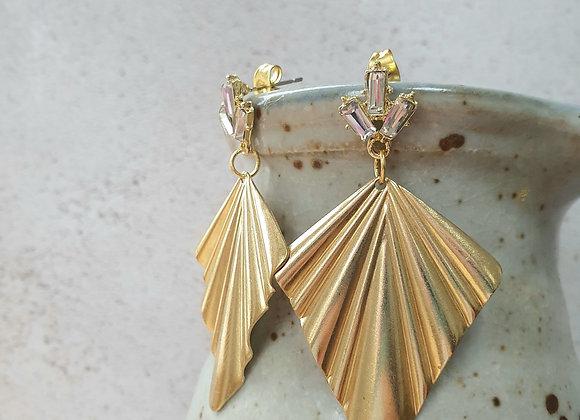 Deco palm leaf earrings
