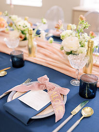 pink orange and navy wedding breakfast table styling inspiration