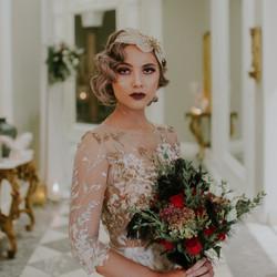 dress details and bouquet