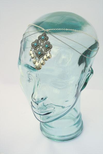 Scandi boho wedding chain headpiece