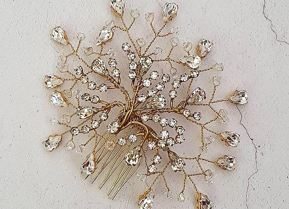 Pear shaped diamante comb