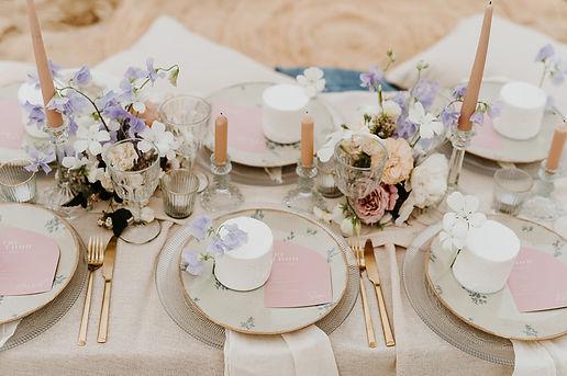 beach elopement wedding breakfast table