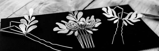 geometric hair pins with modernist leaves