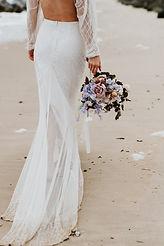 beach elopement boho dress and bridal bouquet