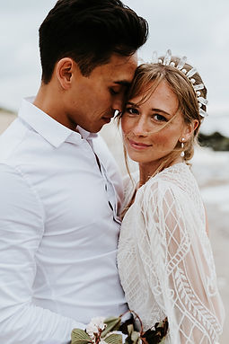 raw crystal headdress with pearls for a beach elopement