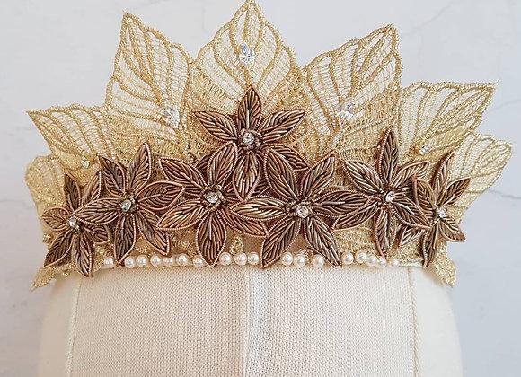 Boho gold leaf and bronze flower crown