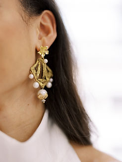 Statement earrings created with vintage original details