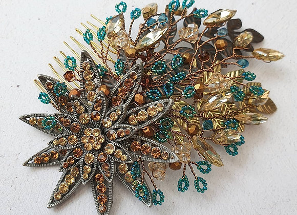Teal and bronze peacock comb