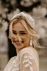 bridal portrait with modern beaded silk knotted headband made by The Lucky Sixpence