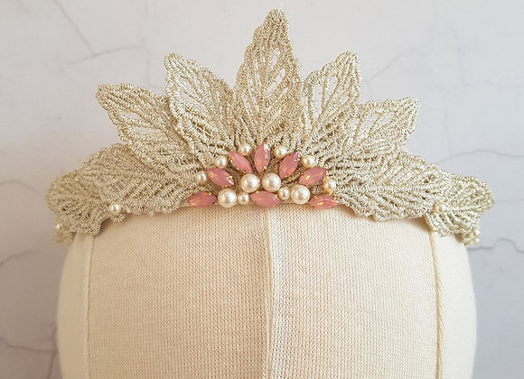 Champagne gold lace leaf crown
