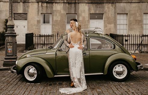 boho wedding VW Beetle in Bath city elopement with modern bride
