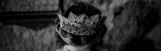 gold leaf crown with bronze flowers and Swarovski pearls