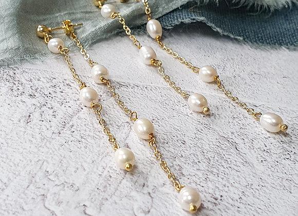 Layered pearl drop earrings