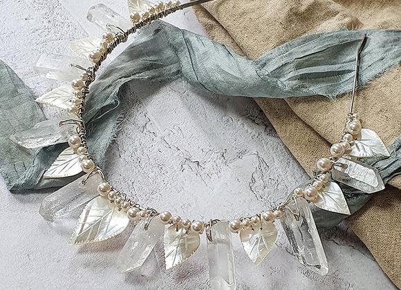Limited edition vintage leaf and crystal crown