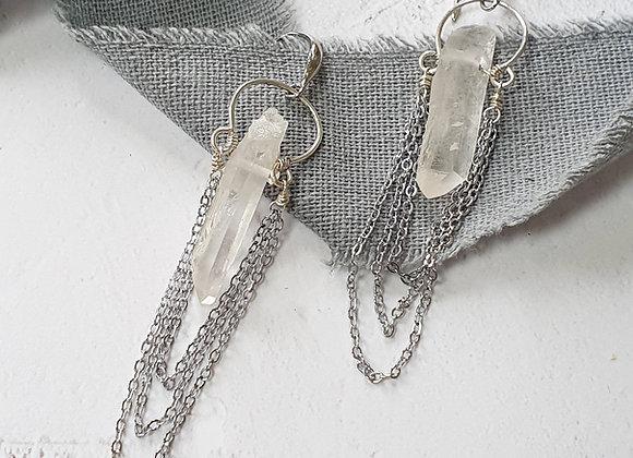 Quartz chain earrings