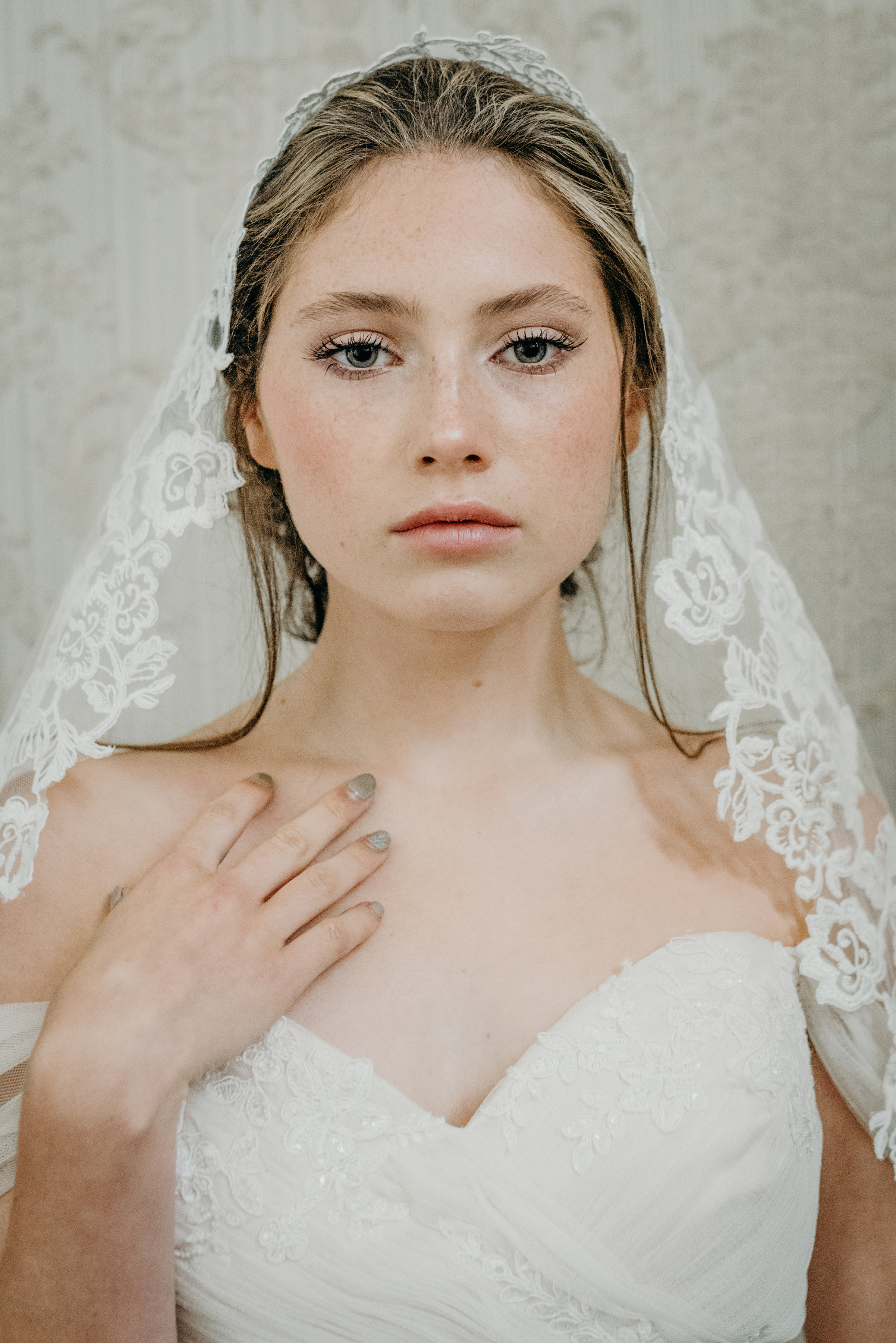 Vintage Lux wedding makeup and veil