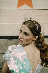 alternative bride style with bridal star halo headband
