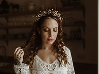 celestial halo bridal crown with gold stars and moons