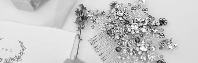 vintage original bridal comb with lavender beadwork handmade by The Lucky Sixpence
