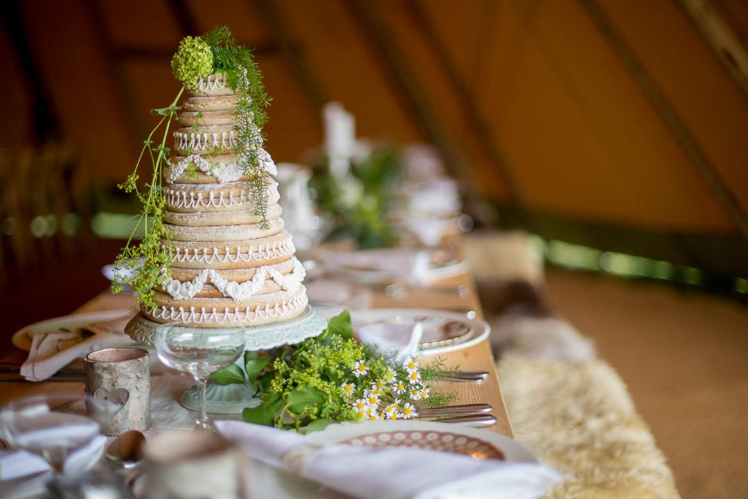 Scandi boho wedding cake table