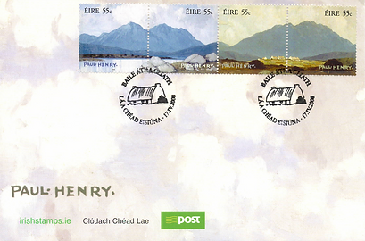 Paul Henry stamps An Post. FDC featuring two works by Paul Hnry split into four stamps dated 17th April 2008 with accompanying An Post booklet with two pages of details on these stamps and a further two pages on the Centenary of the opening of The Hugh Lane Gallery.