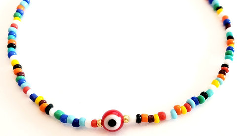 Red Round Evil Eye Stretch Seed Bead Anklet