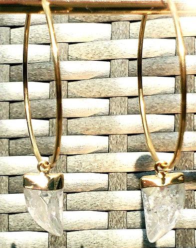 30 mm - 14kt Gold Filled Endless Hoop Quartz Tusk Drop