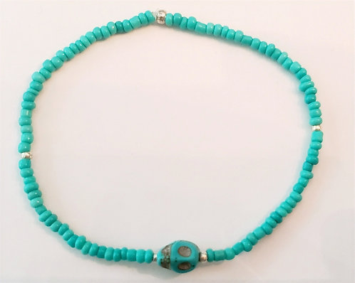 Turquoise Skull Stretch Seed Bead Anklet or Bracelet