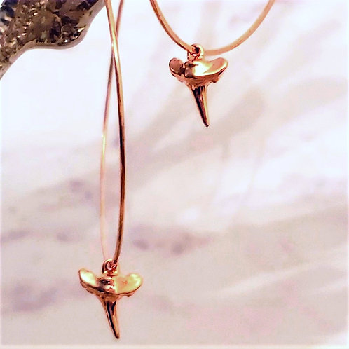 Over-sized 50 mm Gold Filled Endless Hoop - Shark Tooth Drop