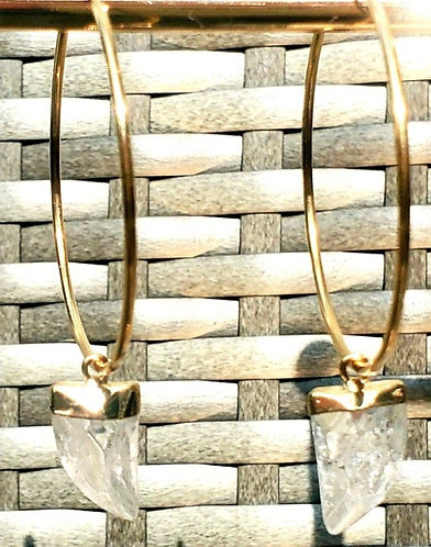 Over-Sized 50 mm - 14kt Gold Filled Endless Hoop  Quartz Tusk Drop