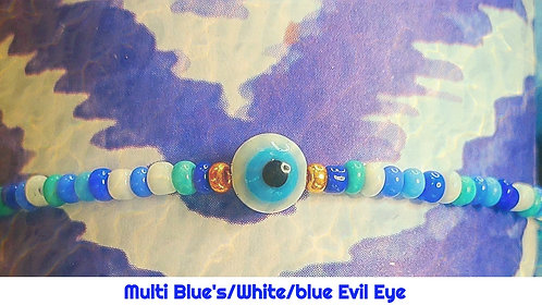Blue Multi Color/White/Blue Round Evil Eye Stretch Seed Bead Anklet