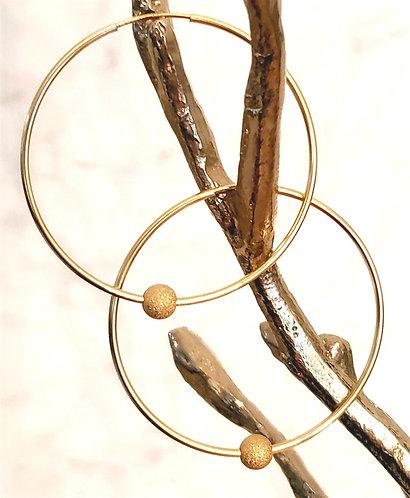30mm - 14kt gold Filled Endless Hoop - Stardust Ball