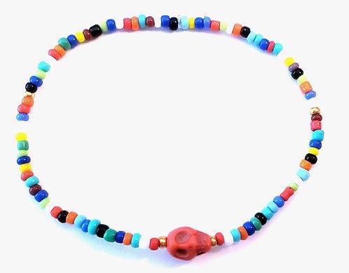 Multi Color & Coral Skull Stretch Seed Bead Anklet or Bracelet