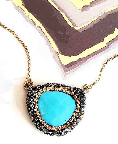 """Turquoise Semi Precious Pendant 16"""" Adj. Sterling silver"""