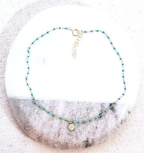 """Vermeil Turquoise Enamel Chain Anklet Pave Drop - 9"""" Adj."""