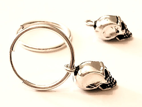 Mini Skull Sterling Silver Endless Hoop Earring 14mm hoop