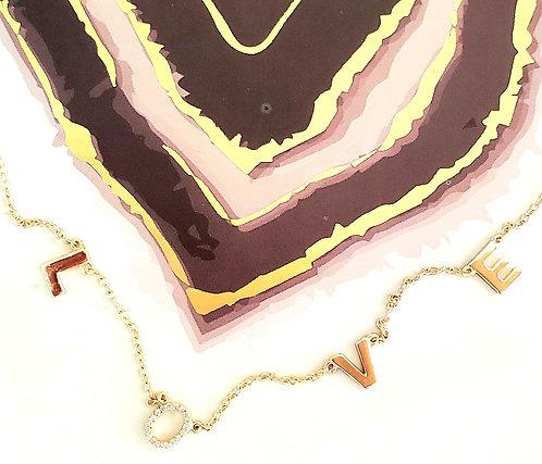"""LOVE Pendant 16"""" adj. Sterling silver. .925 w/ cz"""