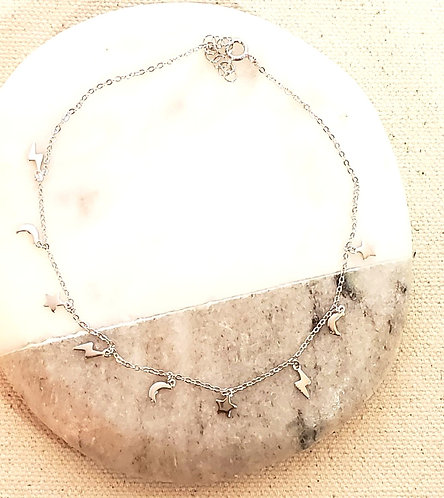 Moon, Stars & Lightening Bolt  Sterling Silver .925 Anklet