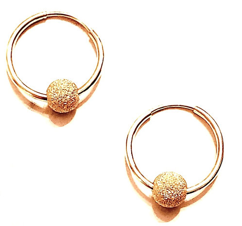 Mini 14kt Gold Filled Endless Hoop (14mm) - 5mm Stardust Gold Ball