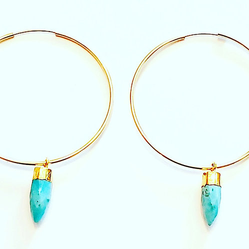 Turquiose Bullet Hoop Earring- 14kt Gold Filled (14mm) Endless Hoop