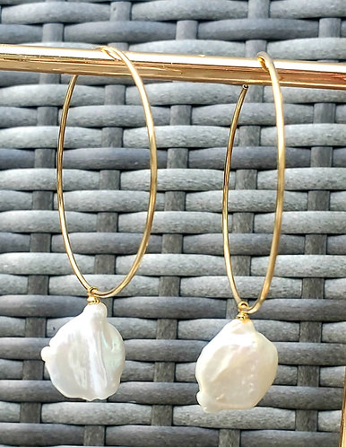 Fresh Water Pearl Hoop Earring (40mm) 14kt Gold Filled Endless Hoop