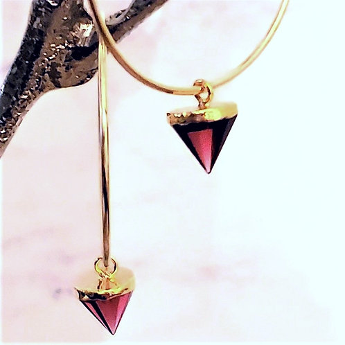 Over-sized 50mm -  14kt Gold Filled Endless Hoop - Semi Tourmaline Cone drop
