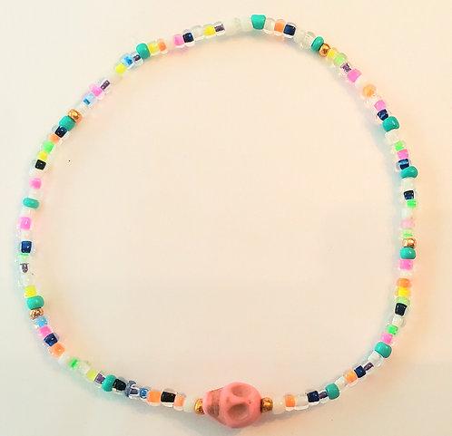 Neon Multi Color/Lt. Pink Skull Stretch Seed Bead Anklet or Bracelet