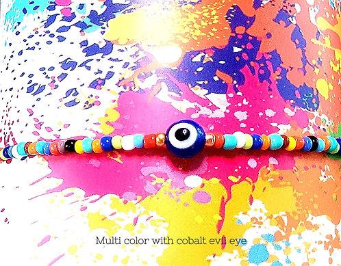 Multi Color/Cobalt Blue Round Evil Eye Stretch Seed Bead Anklet