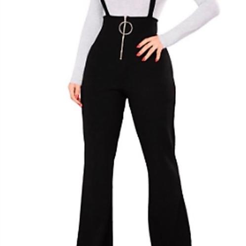 High Waist Black Suspender Pants