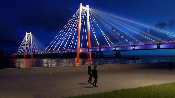 Концепция освещения для вантового Виноградовского моста. Красноярск. 2018