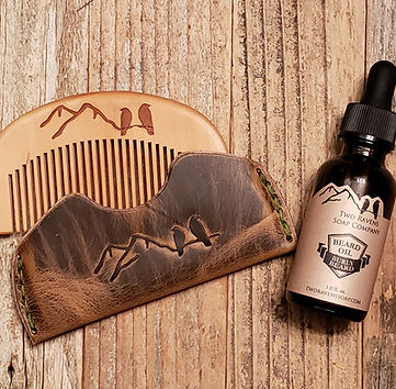 Wood Beard Comb in Leather Holder with a bottle of Beard Oil