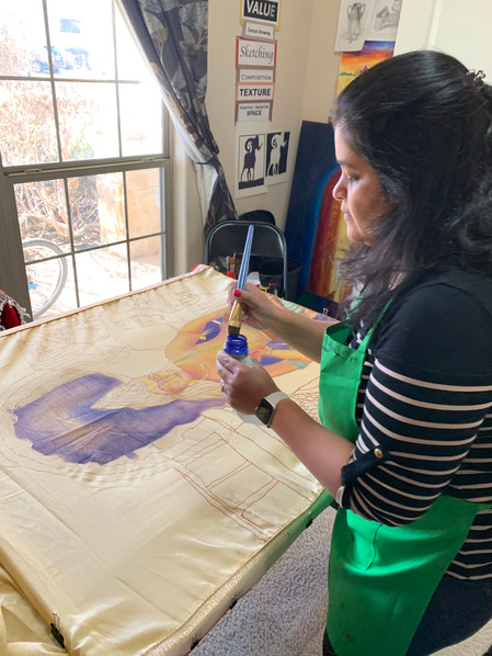 The process of Silk painting