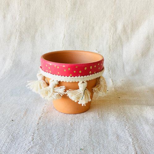 Polka Dot Tassel Small Pot