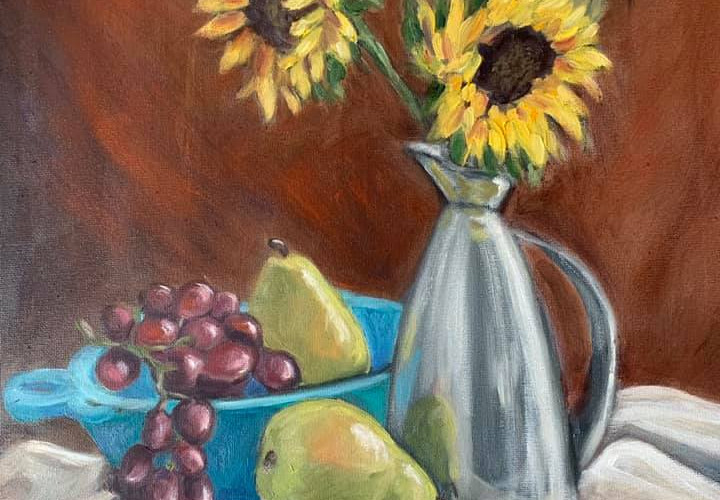 Still Life  Sunflowers ,Pears And Grapes